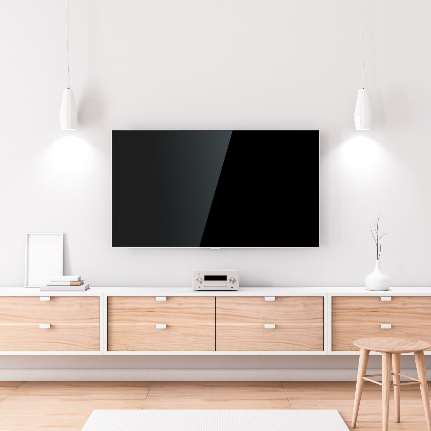 Smart Tv Mockup with black screen hanging on the white wall in modern living room. 3d rendering
